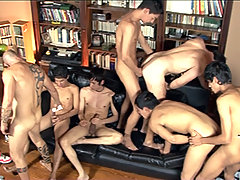 Two lads lube their rods to join a dad-on-boy orgy