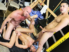 Dek and Hunter are on break but it's not your usual break they are on. They both have been so horny at work that they pulled out their dicks and are masturbating them. The boss isn't around and they really hope they don't get caught. It's a slow day on th