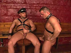 Gay sex action in the dungeon with two hot studs fucking !