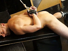 Leonardo is fastened up and locked in a dungeon cage. 10 cameras are recording him while a voice tells him what to do if this guy wants to escape. How far will this guy go to manageable the locks? mature gay fuck