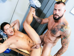 Jace Chambers is cleaning up the workout area and Dominic is coming in to get ready for his client. Based on Jace's quick answers to his questions, Dominic suspects that something might have happened earlier. Jace leaves and as Dominic is getting thing mature gay fuck
