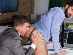 Willing collaborator Tegan Zayne is in the office trying to figure out how to complete a short sale, JJ Knight comes over to help him resolve the tricky issue. When they solve that problem, they move on to a harder challenge for Tegan: servicing JJ's mass mature gay fuck