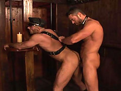 Muscular hairy studs fucking in a dark dungeon here !