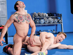 Sebastian Kross is showing off his hard earned physique to gym-buffed Gabriel Cross. Hands roam as they kiss, and jocks leap to erection in the confines of their jock straps. Gabriel zeroes in on Sebastian's pits with broad, sweeping strokes of his tongue mature gay fuck