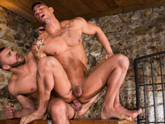 Big, beefy Emir Boscatto brings Sergyo Caruso down to the basement for some bawdy action. The basement looks get joy a medieval dungeon, with stone walls and a metal gate, and Emir is the taskmaster of this dungeon. Sergyo falls to his knees and services
