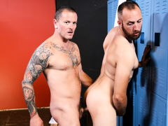 Max & Dustin are back in the locker room after their workout and Dustin tells Max that his muscles are sore. Max rubs his shoulders and tells him that working out always makes him horny! Since they are all alone in the locker room they decide to let loo mature gay fuck