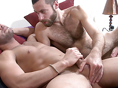 Scruffy heartthrob Seth seeds Marcos Mateo in this scene. Marcos instigates by eagerly deep-throating Seth's thick shaft. Seth then lubes up Marcos' hole with a deep tonguing before thrusting his uncovered cock deep inside. The look on Marcos' face i mature gay fuck