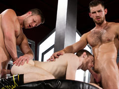 Toned and scruffy Jacob Peterson and Brian Bonds trade spit, literally, as Seamus O'Reilly teases Jacob's hairy nipples. Mouths are quickly filled with hard cocks as the boys oral pleasure sex each other off in an oral pleasure power tower. Brian feeds hi