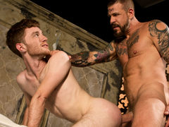 Massive Rocco Steele has written 'MINE' on ginger Seamus O'Reilly's tight ass. Before he fully claims it, Seamus is faced with the task of sucking on Rocco's bulky advisor dick. Rocco feeds his meat to Seamus then conducts him to ride his weenie reverse c