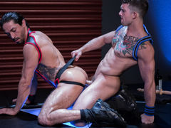 Mikoah Kan is down on hands and knees and untying Sebastian Kross' jock to reveal what hot, huge surprise lies underneath. After Mikoah unleashes the beast, Sebastian shoves his covert cock down Mikoah's windpipe without hesitation. The throat very comme mature gay fuck